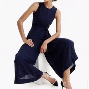 J. Crew Wide Leg Pleated Jumpsuit Navy Size 4
